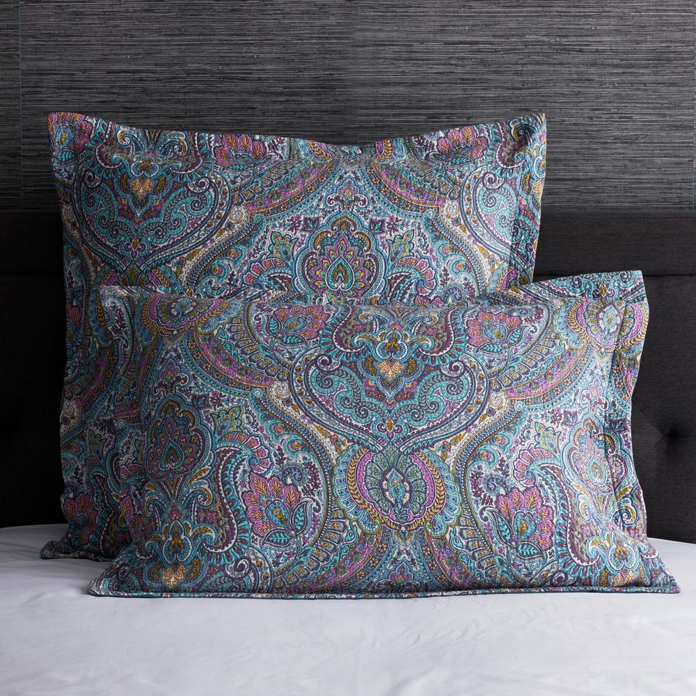 Royal Paisley Multicolored Geometric 200-Thread Count Cotton Euro Sham
