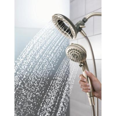 In2ition Two-in-One 5-Spray 6.8 in. Dual Wall Mount Fixed and Handheld Shower Head in Brushed Nickel