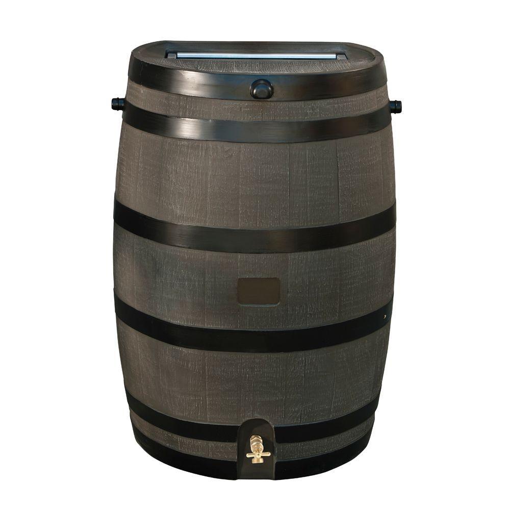 50 Gal. Rain Barrel with Woodgrain Brass Spigot