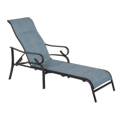 Crestridge Steel Padded Sling Outdoor Patio Chaise Lounge in Conley Denim (2-Pack)