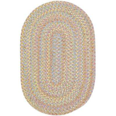 Play Date Sand Beige Multi 2 ft. x 4 ft. Oval Indoor/Outdoor Braided Area Rug