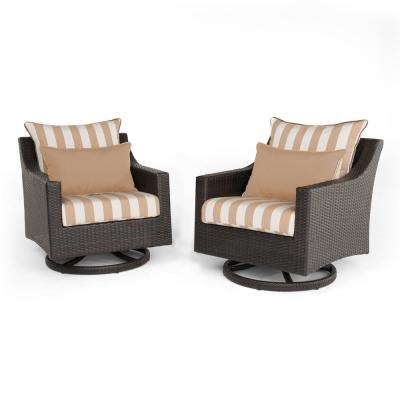 Deco 2-Piece All-Weather Wicker Patio Deluxe Motion Club Chair Seating Set with Maxim Beige Cushions