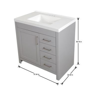 Westcourt 37 in. W x 22 in. D Bath Vanity in Sterling Gray with Cultured Marble Vanity Top in White with White Sink
