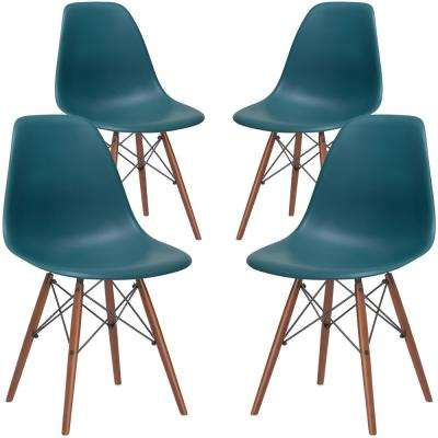 Vortex Teal Side Chair with Walnut Legs (Set of 4)