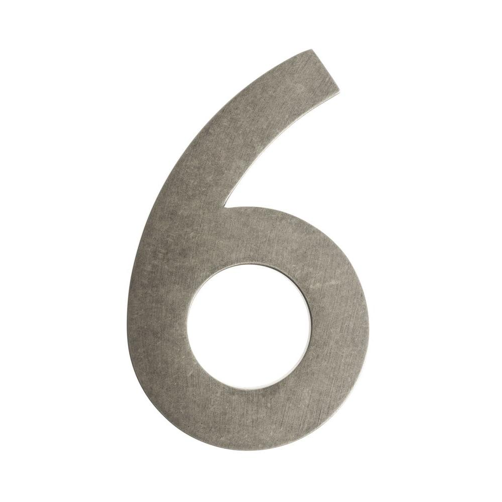 4 in. Antique Pewter Floating House Number 6