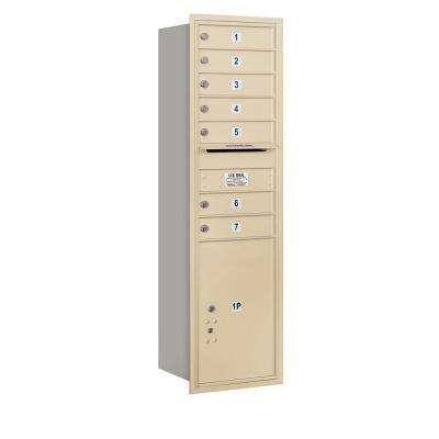 55 in. H x 16 3/4 in. W Sandstone Rear Loading 4C Horizontal Mailbox with 7 MB1 Doors/1 PL6