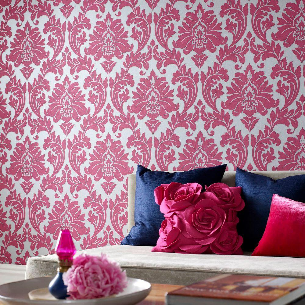 Graham & Brown Majestic Hot Pink Removable Wallpaper