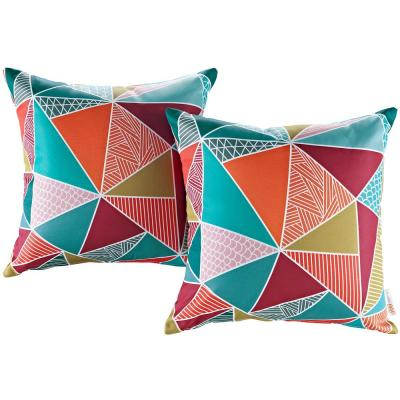 Patio Square Outdoor Throw Pillow Set in Mosaic (2-Piece)
