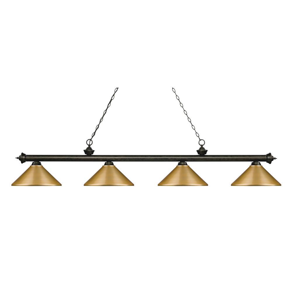 Porter 4-Light Golden Bronze Billiard Light with Satin Gold Steel Shade