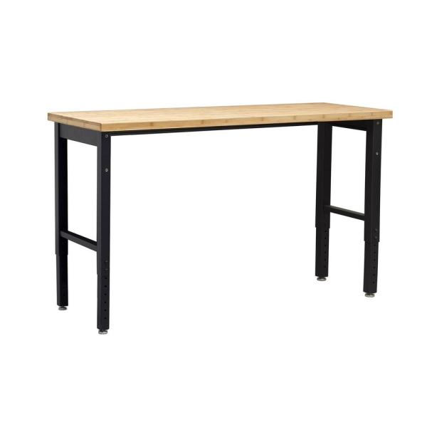 Pro 66 in. Black Workbench with Bamboo Worktop