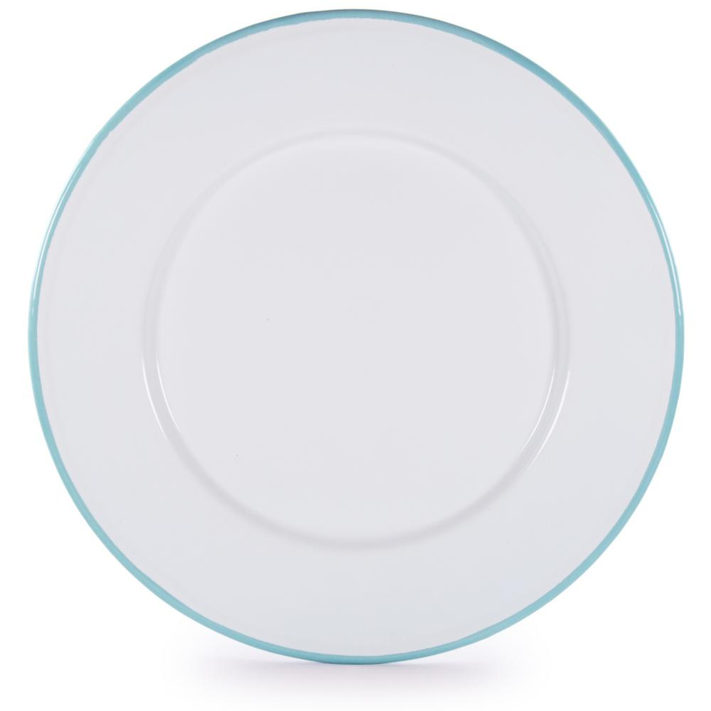 Rolled Edge Sea Glass Enamelware Dinner Plate (Set of 4)