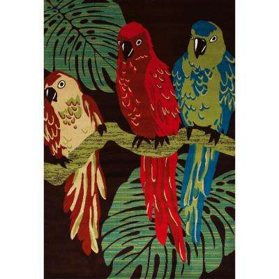 Antigua Parrots Brown 5 ft. x 8 ft. Area Rug