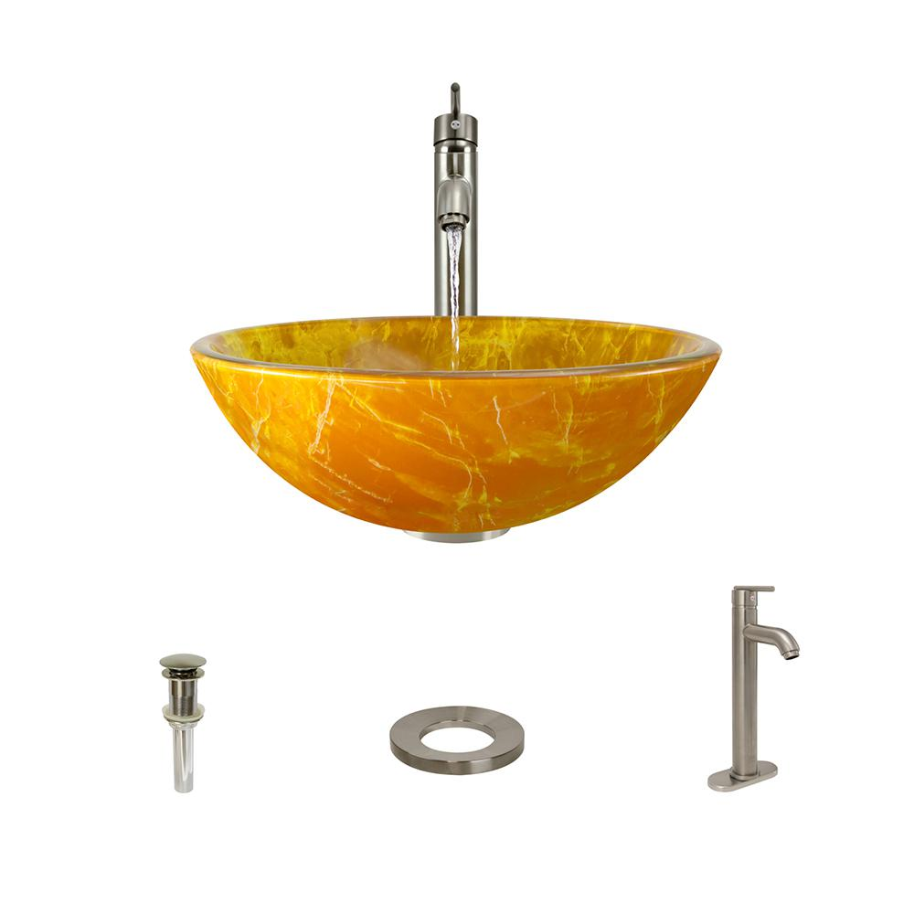 Double Layer Glass Vessel Sink in Yellow and Orange with 718