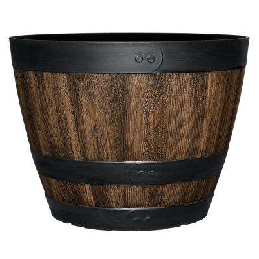 Napa 15 in. Kentucky Walnut Resin Wine Barrel Planter