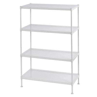 35 in. H x 24 in. W x 12 in. D 4-Shelf Perforated Steel Shelving Unit in White