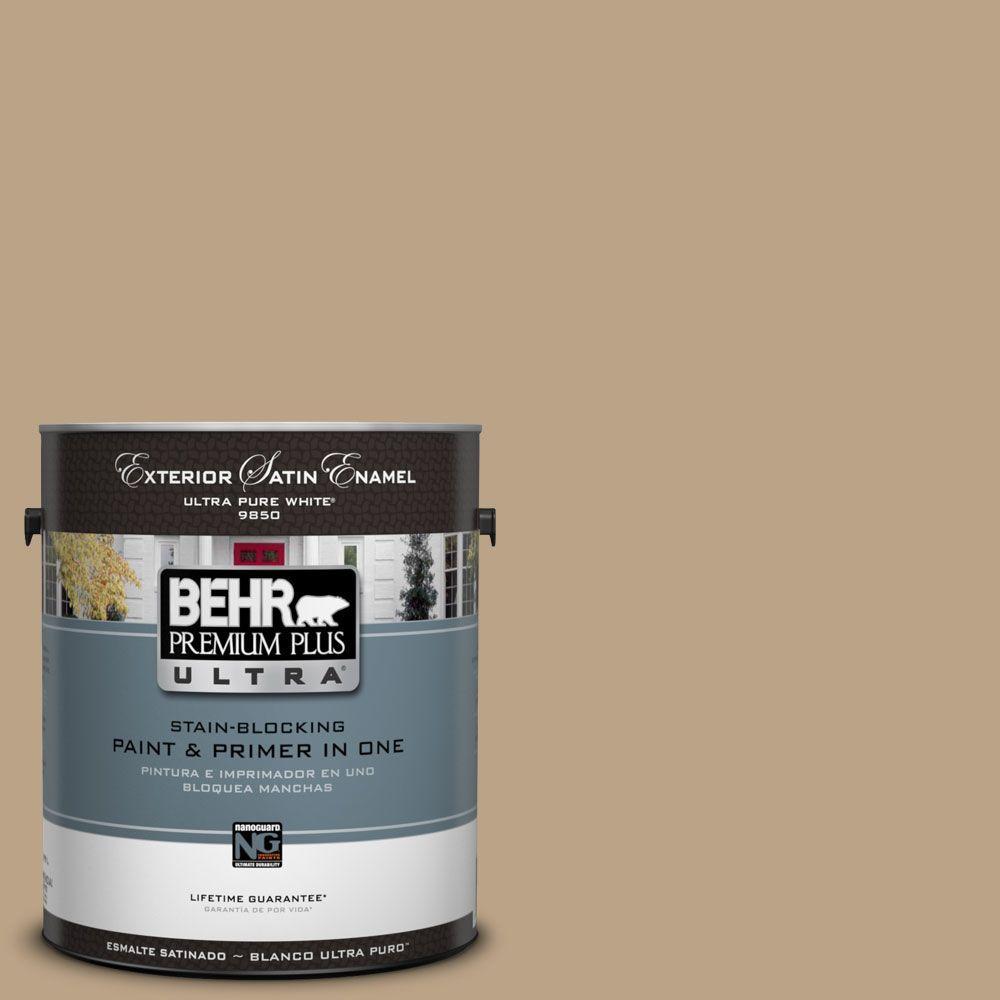 BEHR Premium Plus Ultra 1-Gal. #UL170-4 Gobi Tan Satin Enamel Exterior Paint