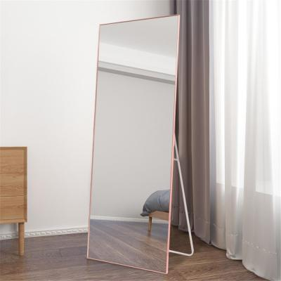 NeuType Rose Gold Aluminum Alloy Thin Frame Full Length Floor Mirror Standing Hanging or Leaning Against Wall
