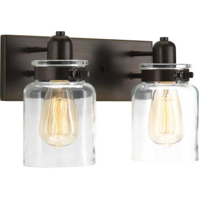 Calhoun Collection 13.25 in. 2-Light Antique Bronze Bathroom Vanity Light with Glass Shades