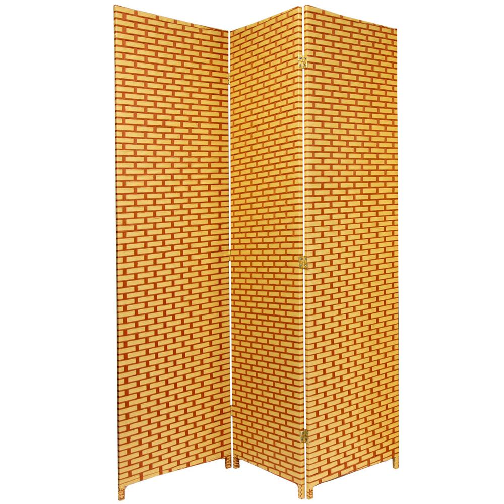 Oriental Furniture 6 Ft. Rust Woven Fiber 3 Panel Room Divider