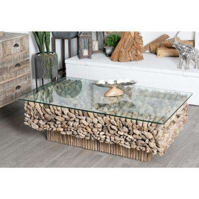 Gray Rectangular Driftwood Twigs and Glass Coffee Table