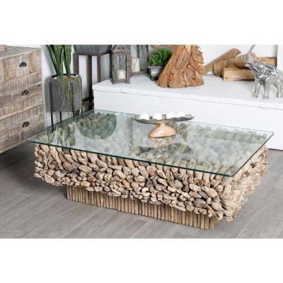 49 in. x 30 in. Large Rectangular Natural Driftwood Coffee Table with Clear Glass Top