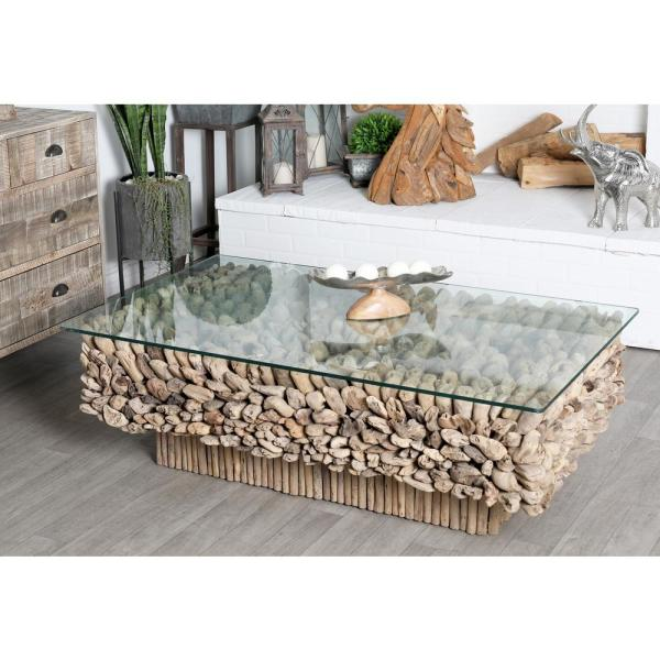 Driftwood Coffee Table With Rectangular Glass Top: Litton Lane 49 In. X 30 In. Large Rectangular Natural
