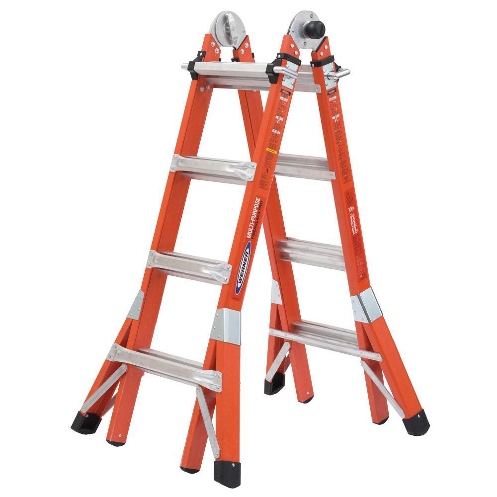 18 ft. Reach Height Multi-Purpose Fiberglass PRO Ladder with 300 lbs. Load Capacity Type IA