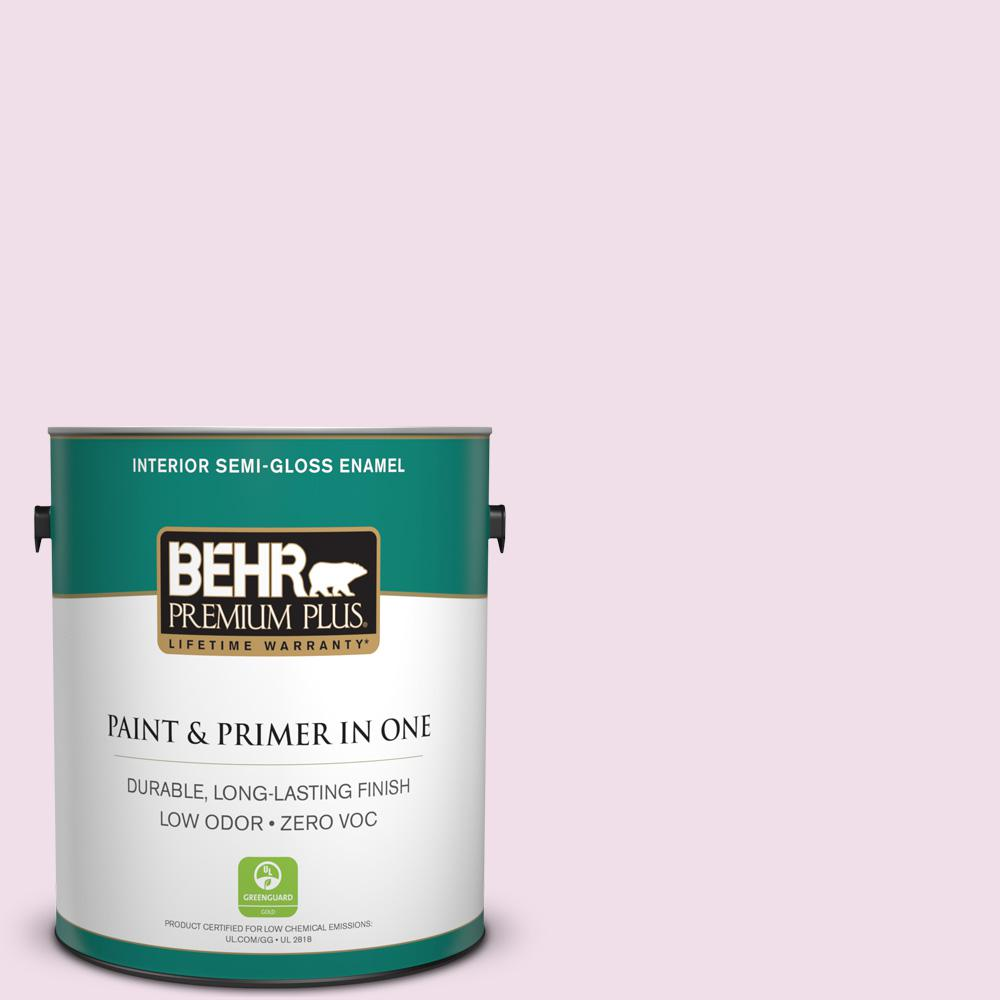 BEHR Premium Plus 1-gal. #M120-1 Pink Proposal Semi-Gloss Enamel Interior Paint