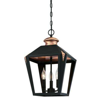 Valley Forge 3-Light Matte Black Finish Pendant with Copper Accents