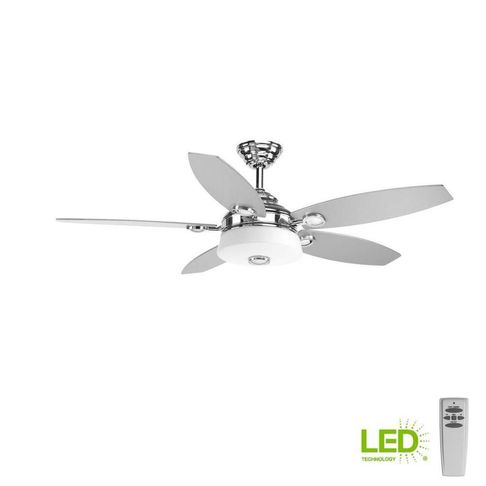 Led Indoor Polished Chrome Modern Ceiling Fan With Light Kit And Remote