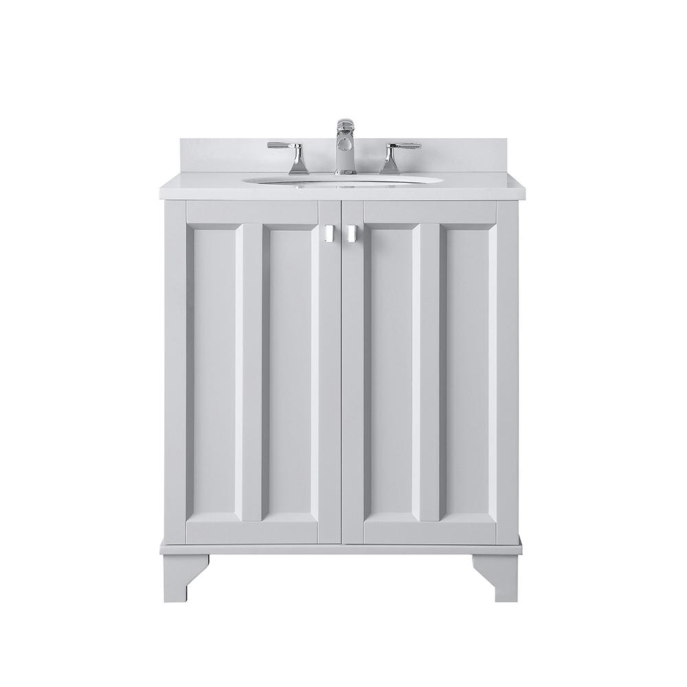 Home Decorators Collection Partridge 30 In W X 22 In D Bath Vanity In Dove Grey With Cultured Stone Vanity Top In White With White Basin