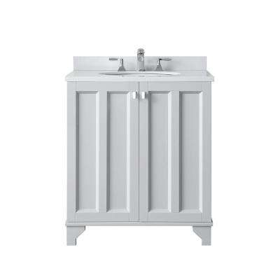 Partridge 30 in. W x 22 in. D Bath Vanity in Dove Grey with Cultured Stone Vanity Top in White with White Basin