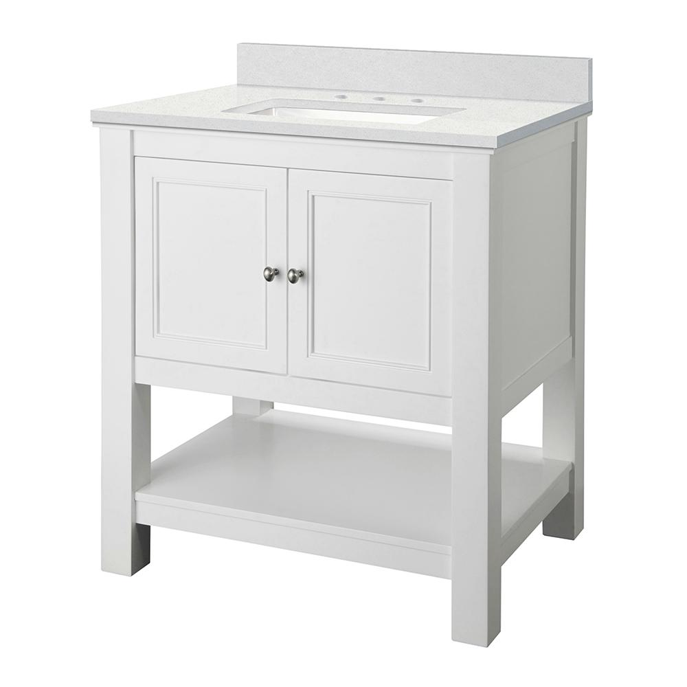 Home Decorators Collection Gazette 31 in. W x 22 in. D Vanity Cabinet in White with Engineered Marble Vanity Top in Snowstorm with White Sink was $599.0 now $419.3 (30.0% off)