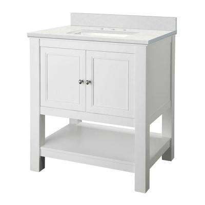 Gazette 31 in. W x 22 in. D Vanity Cabinet in White with Engineered Marble Vanity Top in Snowstorm with White Sink