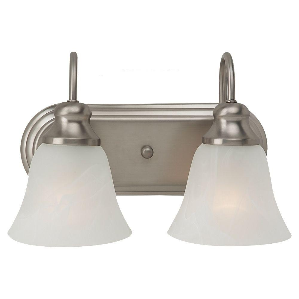 Sea gull lighting windgate 2 light brushed nickel vanity fixture 44940 962 the home depot for Brushed nickel bathroom lighting fixtures