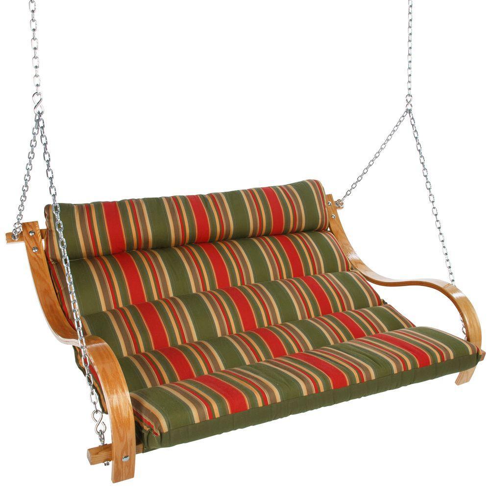 null Double Cushion Swing with Oak Arms-Trellis Garden