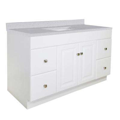 Wyndham RTA 49 in. x 22 in. 2-Door 4-Drawer Vanity in White with CM Vanity Top Frost Grey and Rectangular White Basin