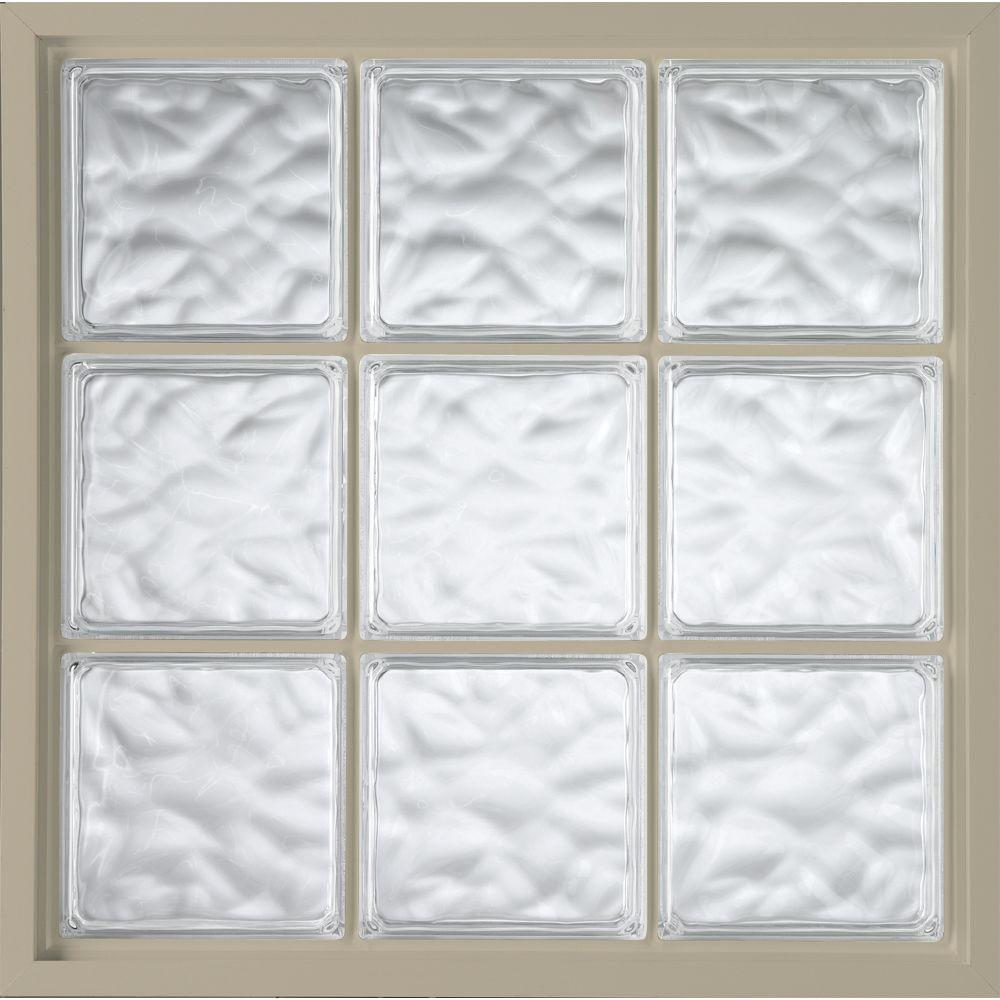 46.75 in. x 46.75 in. Glass Block Fixed Vinyl Windows Wave