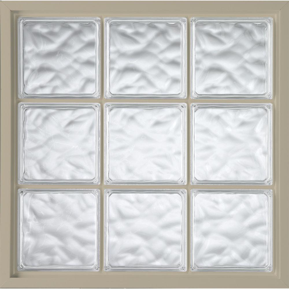 46.75 in. x 46.75 in. Glass Block Fixed Vinyl Windows Wave Pattern Glass - Tan