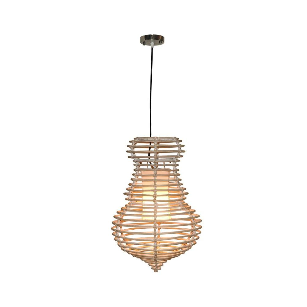 Jeffan Sienna 1-Light Modern Chic Hanging Pendant In Antique White Wash Rattan Rattan