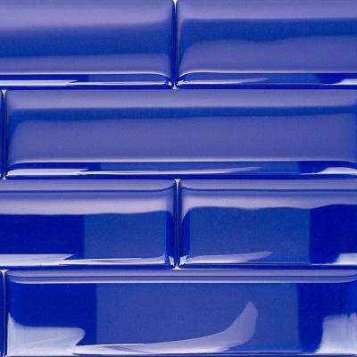 Contempo Blue 2 in. x 8 in. x 8mm Polished Glass Floor and Wall Tile (1 sq. ft.)