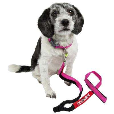 Medium Pink Neo-Indestructible Easy-Tension Sporty Embroidered Thick Durable Pet Dog Leash and Collar