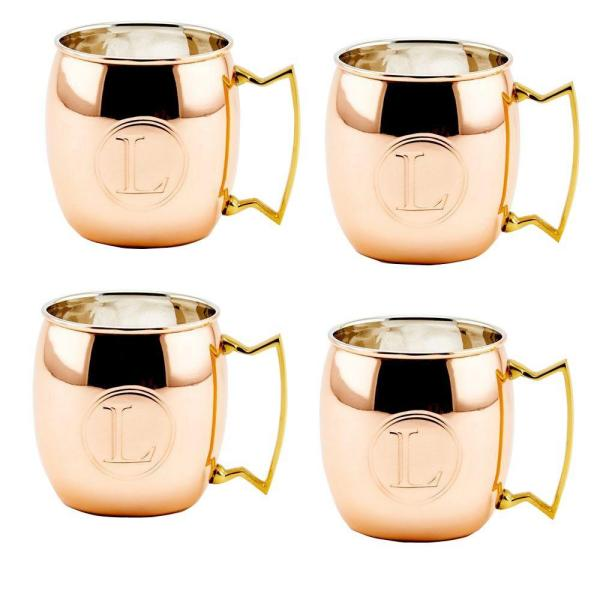 Monogram L 16 oz. Solid Copper Moscow Mule Mugs (Set of 4)