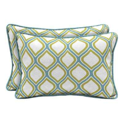 DriWeave Porcelain and Pear Lumbar Outdoor Throw Pillow (2-Pack)