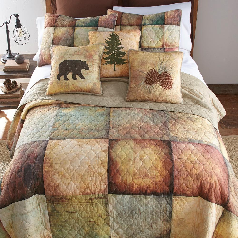 Wood Patch 3-Piece Brown Cotton King Quilt Set
