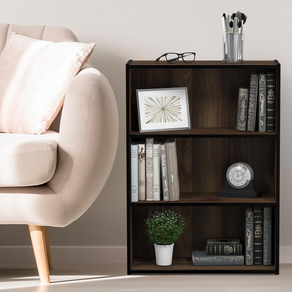 31.5 in. Columbia Walnut Wood 3-shelf Standard Bookcase with Storage