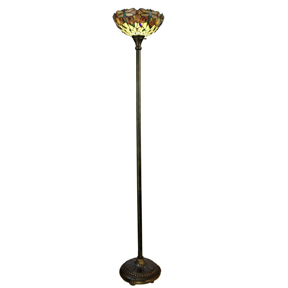 Dale Tiffany Dragonfly 71 in. Antique Bronze Torchiere Floor Lamp
