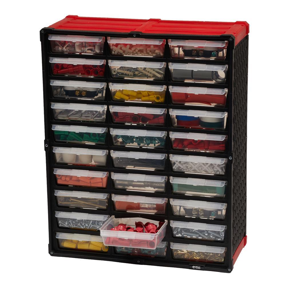 30-Compartment Small Parts Organizer, Red