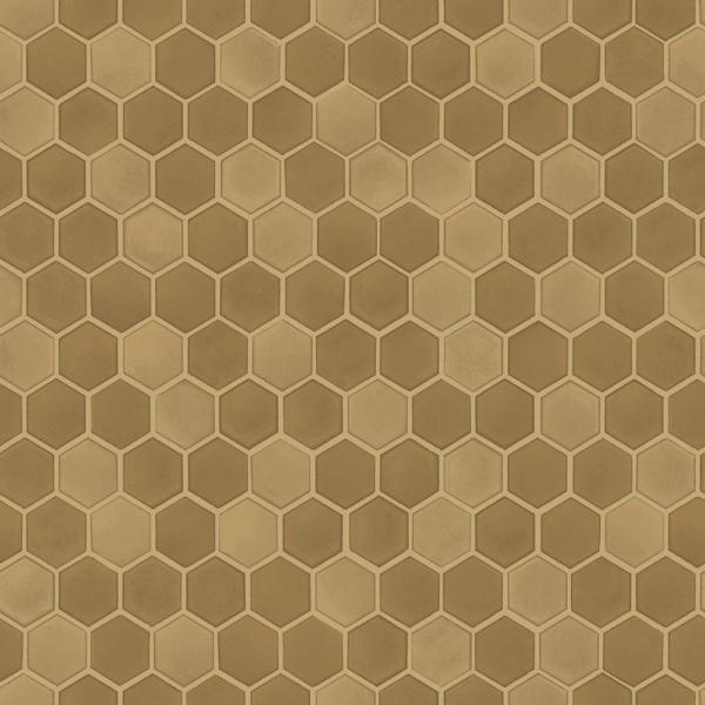 Tempaper Hexagon Tile Brushed Gold Self-Adhesive, Removable Wallpaper TE10553