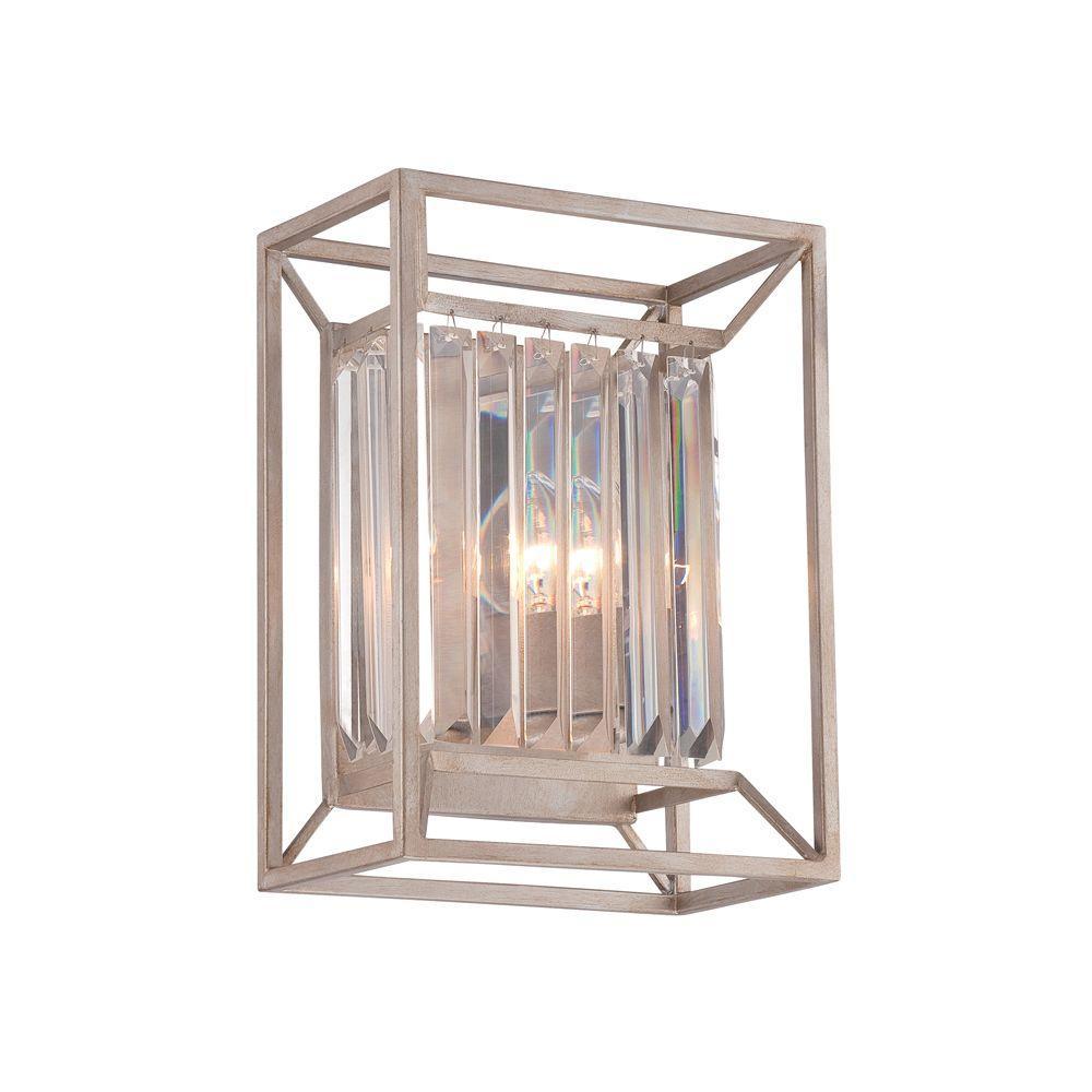 Linares 2-Light Aged Platinum Interior Incandescent Bath Vanity Light